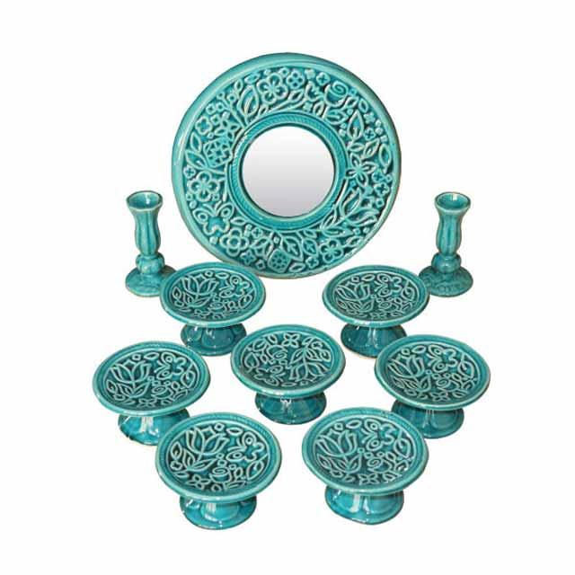 ظروف سفالی فیروزه ای و سبز آبی مناسب سفره هفت سین سال 99