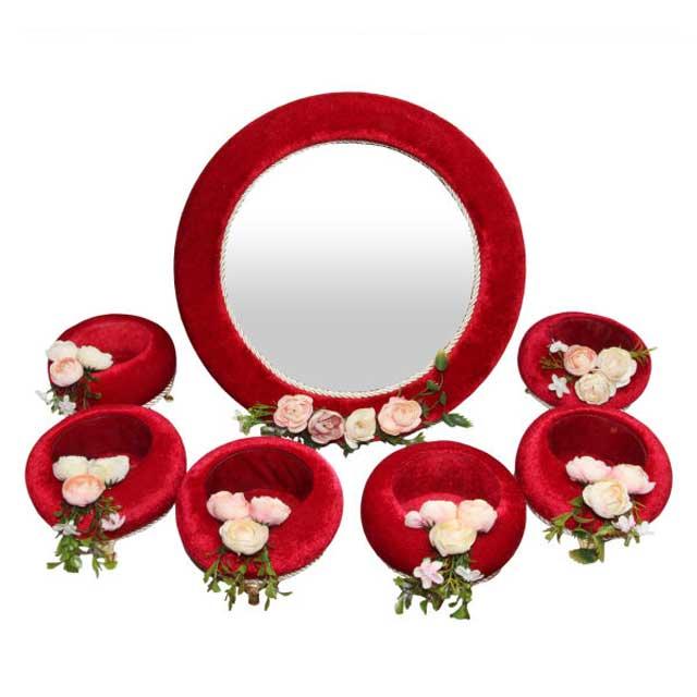 مجموعه ظروف هفت سین چوبی 7 پارچه مدل گلدار