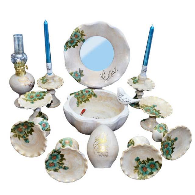 ظروف هفت سین با آینه شمع دان و مرغ آمین از جنس سفال