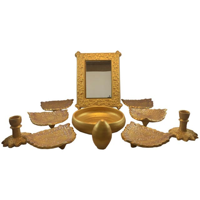 ظروف هفت سین سفالی رنگ طلایی